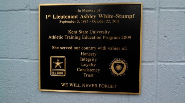 This plaque hangs in the main classroom of the Kent State University athletic training program.